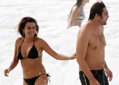 Penelope Cruz and Javier Bardem having fun at the beach in Brazil
