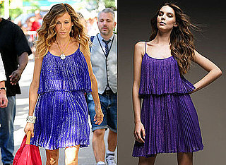 Sarah Jessica Parker Wearing Blue Halston Dress on Sex and the City 2 Set