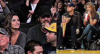Penelope Cruz, Javier Bardem, Leonardo DiCaprio, and Bar Refaeli at a Lakers Game
