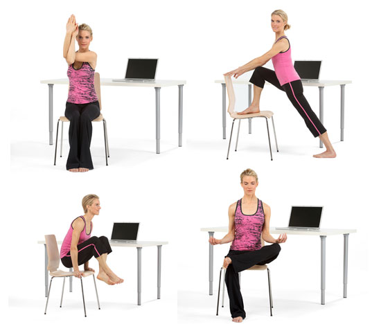 Poses for yoga at your desk