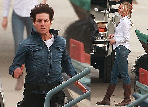 Photos of Tom Cruise and Cameron Diaz on the Set of Knight and Day in LA