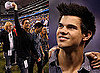 Photos of Taylor Lautner With Rob Lowe at New York Jets Indianapolis Colts AFC Championship Game