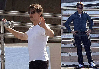 Photos of Tom Cruise on the Set of Knight and Day Wearing a White Tee