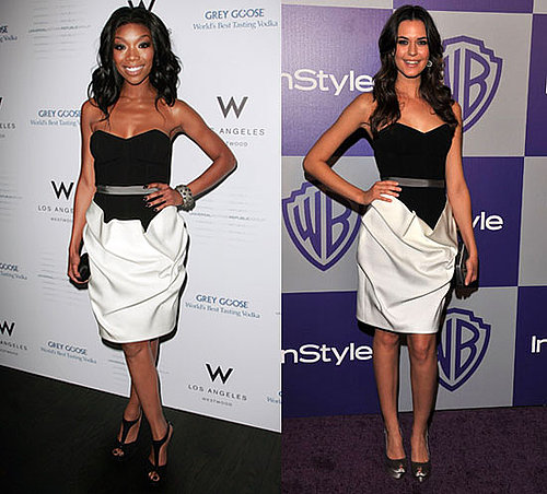Brandy and Odette Yustman Wearing Same Paule Ka Dress