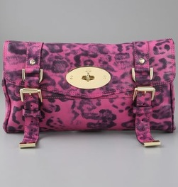 Mulberry Shiny Leopard Alexa Clutch