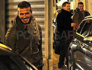 Photos of David Beckham and British Comedian James Corden After Dinner in Milan