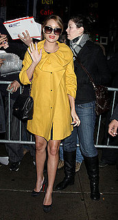Photos of Lauren Conrad Wearing a Yellow Jacket Arriving at GMA in NYC