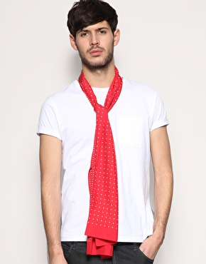 Drakes of London Heart Spot Reverse Silk Scarf ($221)