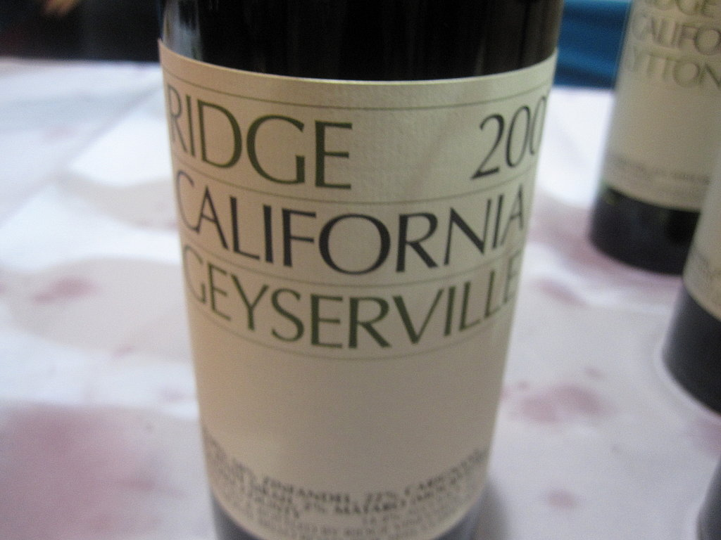 The crostini paired with Ridge Geyserville Zin.