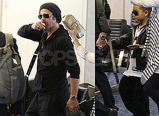 Photos of Brad Pitt and Maddox Jolie-Pitt at LAX Headed to Super Bowl