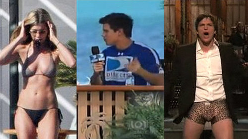 Jennifer Aniston Bikini Photos, Taylor Lautner Football Video, and Ashton Kutcher on SNL