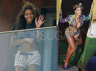 Photos of Beyonce Hanging Out on Her Balcony Showing Off Her Abs in Brazil