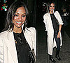 Zoe Saldana in White Coat at the Cinema Society & HBO Screening of How to Make It in America in NYC