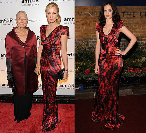 Eva Green and Joely Richardson in Same Alexander McQueen Red Print Dress