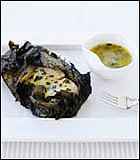 Halibut Roasted in Grape Leaves With Lemon Vinaigrette
