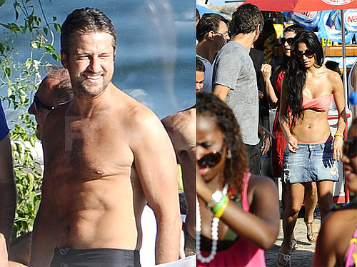 Photos of Gerard Butler Shirtless on the Beach in Rio While Attending Carnival