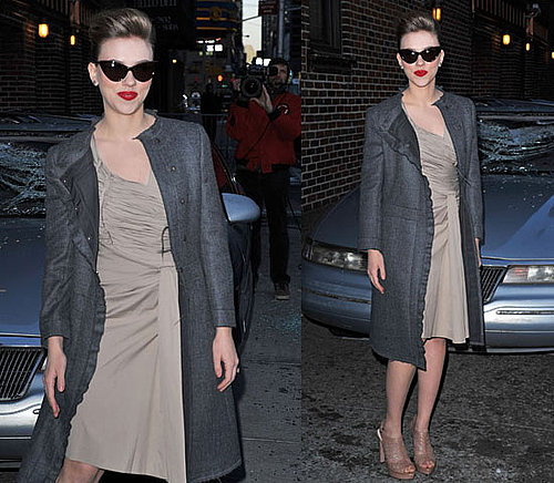 Scarlett Johansson Wearing Cat-Eye Sunglasses Outside David Letterman 2010