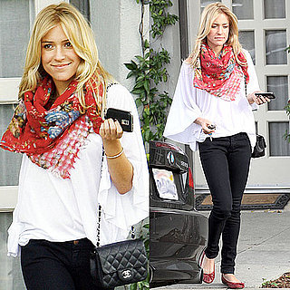 Photo of Kristin Cavallari Wearing White Bell-Sleeved Shirt and Red Flats in Beverly Hills
