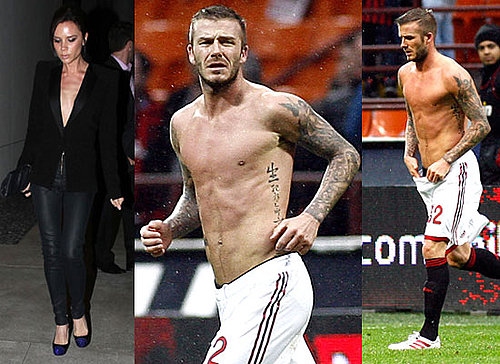 Photos of David Beckham Shirtless Playing For AC Milan Plus Victoria Beckham Showing Her Cleavage in Low Cut Top