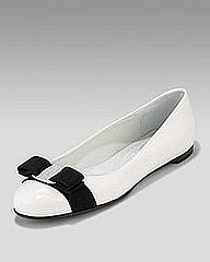 Salvatore Ferragamo Varina Patent Flat, White &amp; Blue- Premier Designer- Neiman Marcus