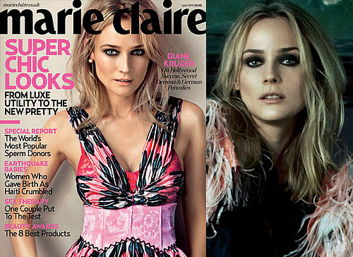 Photos of Diane Kruger in April 2010 Issue of Marie Claire UK Magazine Where She Talks About Joshua Jackson, Marriage and More 2010-03-09 22:30:28