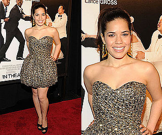 America Ferrera Attends NYC Premiere of Our Family Wedding in Gold Sweetheart Dress