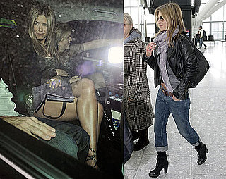 Photos of Jennifer Aniston Leaving the London Premiere of The Bounty Hunter, Arriving at Heathrow