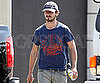Slide Photo of Shia LaBeouf Wearing a Blue Hat and Shirt While Running Errands in LA