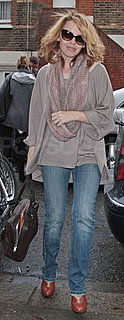 Kylie Minogue Wears Booties and Tan Sweater