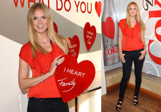 Photos of Heidi Klum at the Heart Truth Pop-Up Experience Wearing Red in Los Angeles