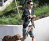 Slide Photo of Jessica Biel Walking Dog in LA