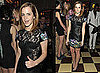 Photos of Emma Watson in a Black Leather and Lace Dress in New York