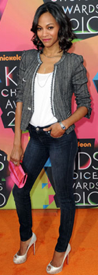 Zoe Saldana Style at 2010 Kids Choice Awards