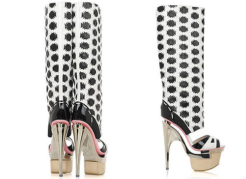 Printed Cut Out Boots by Versace