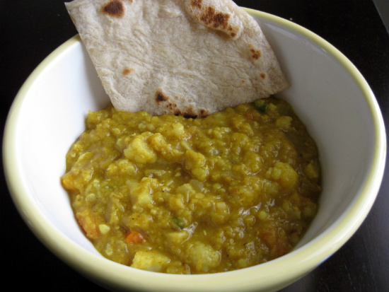 Red Lentil-Cauliflower Curry with Roti