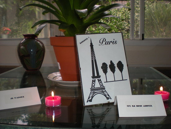 i did an internet search for French love sayings, printed them on lables and stuck them on tiny tent cards. Everyone enjoyed having Frances translate the sayings