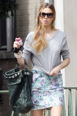 Whitney Port Wearing Blue Floral Miniskirt in NYC