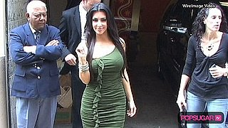 Kim Kardashian in a Green Dress in New York City
