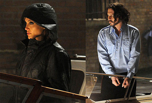 Pictures of Angelina Jolie and Johnny Depp in Handcuffs Filming At Night In Venice, Italy