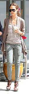 Jessica Alba Wears J Brand Cargos to Get Coffee in LA
