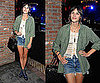 Alexa Chung Wearing Crochet Top, Army Green Blouse, Cutoff Denim Shorts