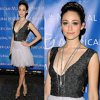 Emmy Rossum at American Museum of Natural History's 2010 Museum Dance in White Skirt and Black Sparkle Top