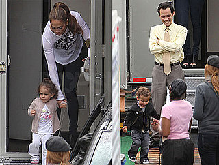 Pictures of Jennifer Lopez And Marc Anthony With Twins Max And Emme on The LA Set of HawthoRNe