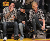 David Beckham and Charlize Theron Wear Plaid and Dark Denim at LA Lakers Game