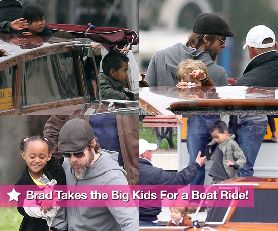 Pics: Brad Pitt Takes the Big Kids For a Boat Ride