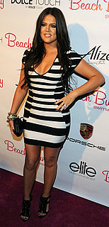 Khloe Kardashian in Black and White Herve Leger Dress