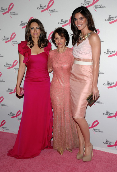 Elizabeth Hurley, Evelyn Lauder, and Hilary Rhoda