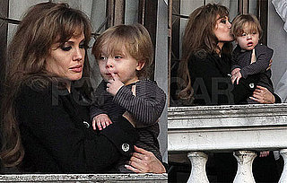 Pictures of Angelina Jolie With Knox Jolie-Pitt on Their Balcony in Venice