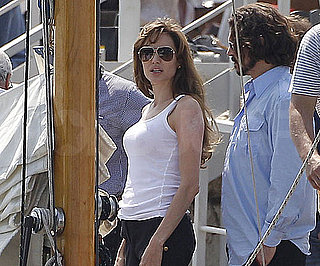 Slide Picture of Angelina Jolie in a Tank Top and Johnny Depp in Venice