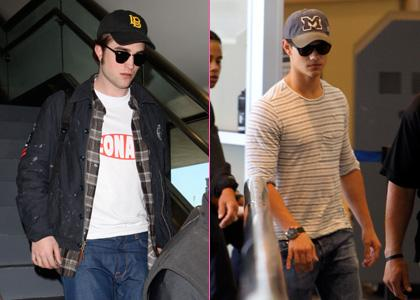 Robert Pattinson and Taylor Lautner were spotted arriving at LAX Airport in Los Angeles on Saturday (May 1).